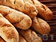 Рецепта Здравословни багети Омега 3 за хлебопекарна с пълнозърнесто, пшеничено и ръжено брашно, зародиш и ленено семе